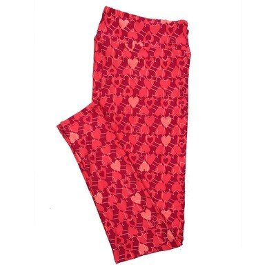 LuLaRoe Tall Curvy TC Leggings Double Hearts Red Pink (TC fits 12-18) TC-7017-Q