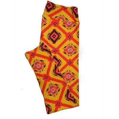 LuLaRoe Tall Curvy TC Leggings Orange Black Red Aztek Sputhwestern Arrows (TC fits 12-18) TC-7016-D