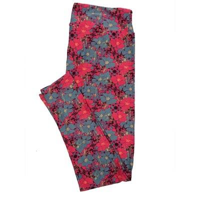 LuLaRoe Tall Curvy TC Leggings Pink Floral (TC fits 12-18) TC-7017-R