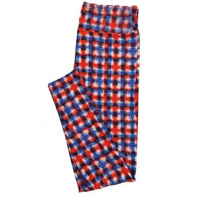 LuLaRoe Tall Curvy TC Leggings Red Whtie Blue Checkboard Stripe (TC fits 12-18) TC-7016-N