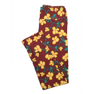 LuLaRoe One Size OS Floral Leggings (OS fits Adults 2-10) OS-4069-D