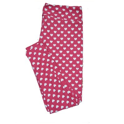 LuLaRoe One Size OS Pink and Dark Pink Polka Dots with White Hearts Love Valentines Leggings (OS fits Adults 2-10) OS-4205-E