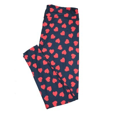 LuLaRoe One Size OS Solid Black w/ Red Large Polka Dot Hearts Love Valentines Leggings (OS fits Adults 2-10) OS-4205-H