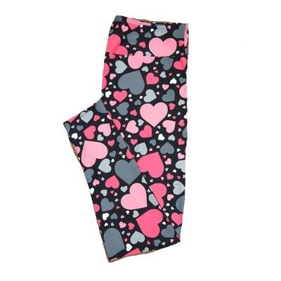 LuLaRoe One Size OS Black w/ White Shades of Gray Polka Dot Hearts Love Valentines Leggings (OS fits Adults 2-10) OS-4208-K