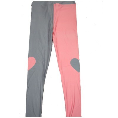 LuLaRoe One Size OS Two Tone Solid Pink With Opposite Color Hearts on the Knees Love Valentines Leggings (OS fits Adults 2-10) OS-4210-C