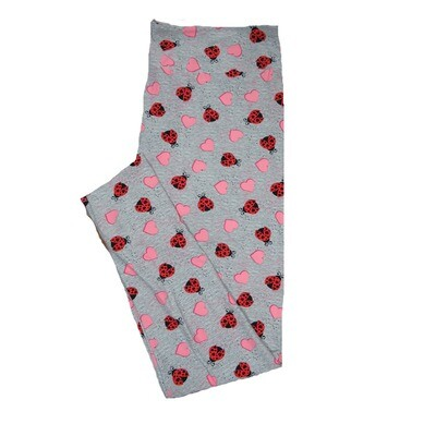 LuLaRoe One Size OS Solid Heathered Gray with Red Black Ladybugs and Pink Hearts Love Valentines Leggings (OS fits Adults 2-10) OS-4210-A