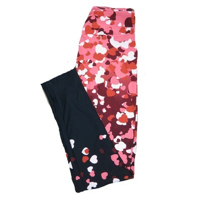 LuLaRoe One Size OS Falling Cascading Floating Pink Red White Multicolor Collage Hearts with Solid Black Leg Bottoms Love Valentines Leggings (OS fits Adults 2-10) OS-4205-C