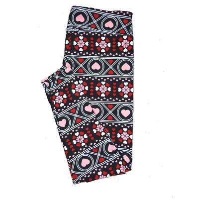 LuLaRoe One Size OS Black White Red Pink Stripe Gaelic Style Polka Dot Mandala Hearts Love Valentines Leggings (OS fits Adults 2-10) OS-4208-F