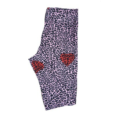 LuLaRoe One Size OS Black and White Leopard Print with Red Hearts Love Valentines Leggings (OS fits Adults 2-10) OS-4208-P