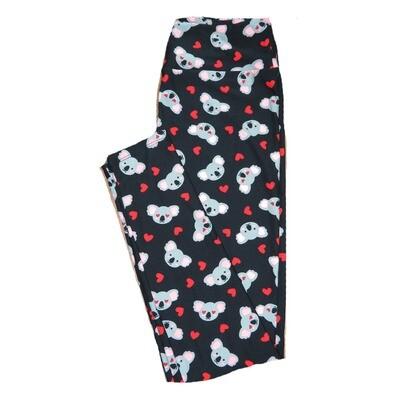 LuLaRoe Tall Curvy TC Koala Bears Black with Gray White and Red Polka Dot Hearts Love Leggings (TC fits Adults 12-18) TC-7208-A