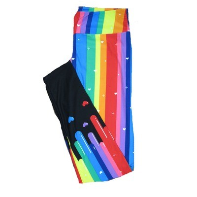 LuLaRoe Tall Curvy TC Dripping Rainbow Paint Stripe Runs into Floating Hearts with Black Leg Bottoms and White Hearts Polka Dots Plus Signs Love Valentines Leggings (TC fits Adults 12-18) TC-7209-A