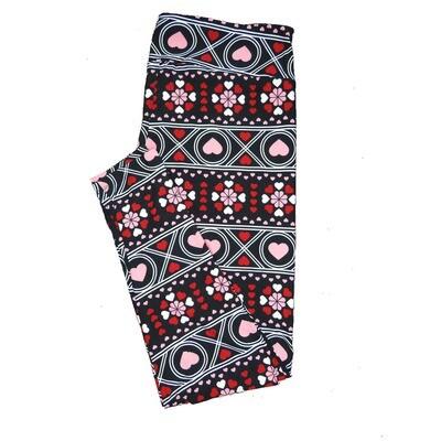 LuLaRoe Tall Curvy TC Black White Red Pink Stripe Gaelic Style Polka Dot Mandala Hearts Love Valentines Leggings (TC fits Adults 12-18) TC-7203-F