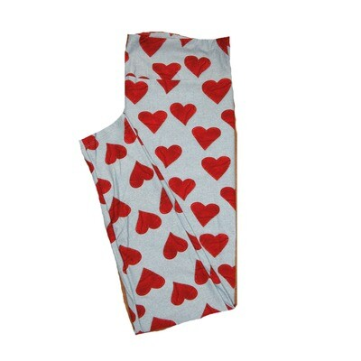 LuLaRoe Tall Curvy TC Solid Gray w/ Red Heart Patches Sewn Look Love Valentines Leggings (TC fits Adults 12-18) TC-7204-E