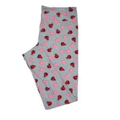 LuLaRoe Tall Curvy TC Solid Heathered Gray with Red Black Ladybugs and Pink Hearts Love Valentines Leggings (TC fits Adults 12-18) TC-7208-E