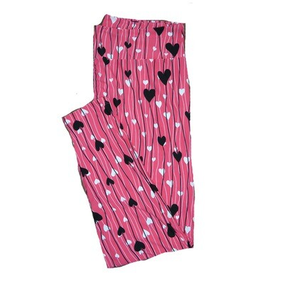 LuLaRoe Tall Curvy TC Pink with Black and White Floating Hearts on Strings Love Valentines Leggings (TC fits Adults 12-18) TC-7211-G