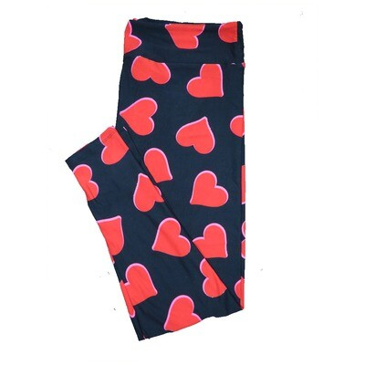 LuLaRoe Tall Curvy TC Solid Black with Red Hearts and Pink Trim Love Valentines Leggings (TC fits Adults 12-18) TC-7204-F