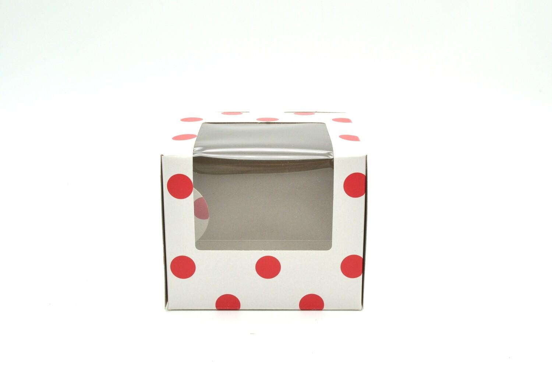 CupCake Single Box Window White - Polka Dots Red (ea)