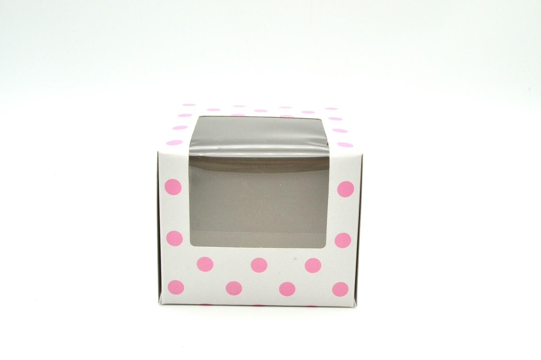 CupCake Single Box Window White- Polka Dots Light Pink (ea)