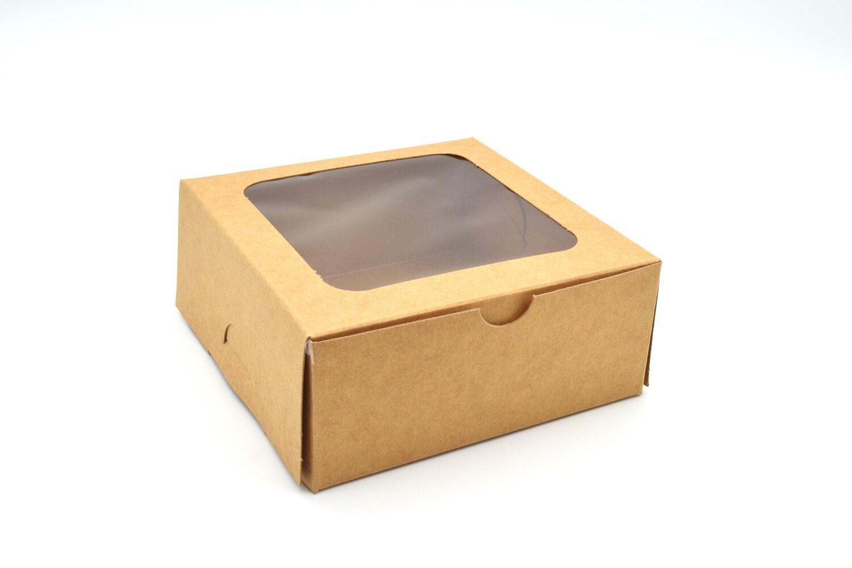 Cake Box Window 5 x 5 x 2.5 Kraft (ea)