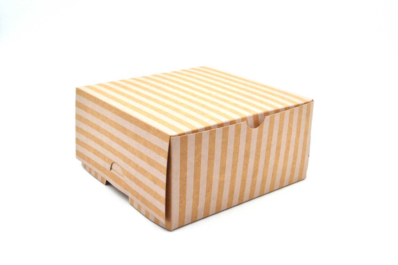 Cake Box Eco Brown White Stripe 6 x 6 x 3 (ea)