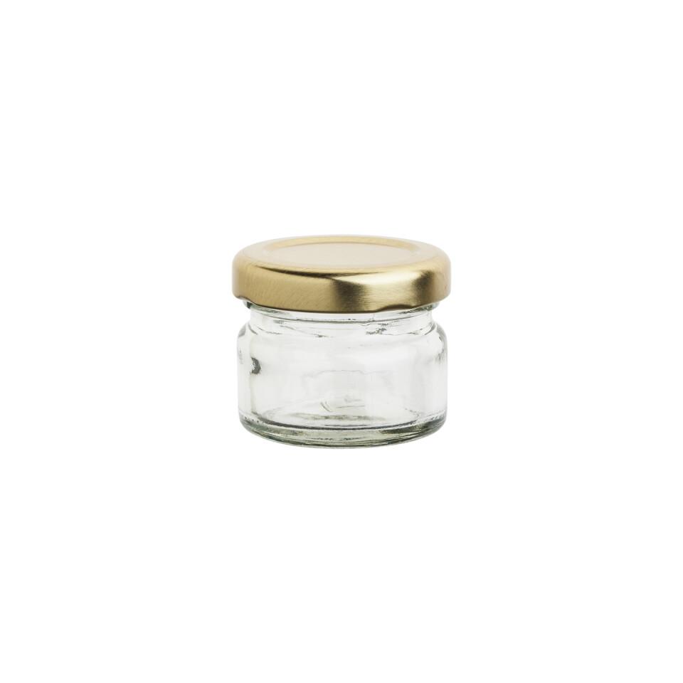 Glass Jar C Mini 28 ml - Gold Lid (ea)