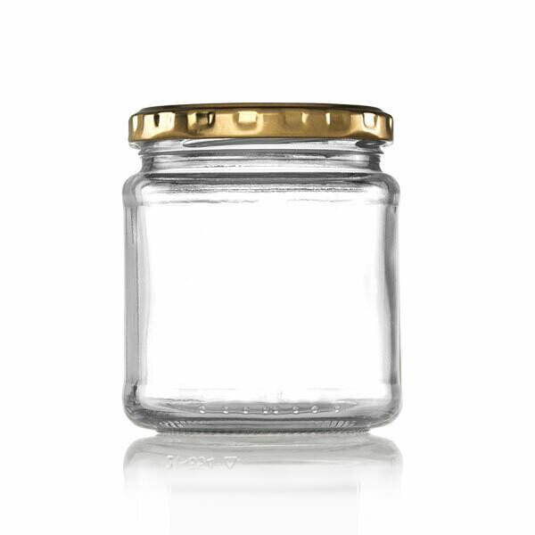 Glass Jar C Jam Jar 291 ml - Gold Lid (ea)