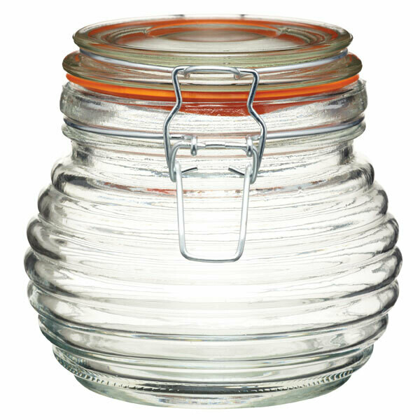 HM Glass Honey Pot Beehive Design 650 ml (ea)
