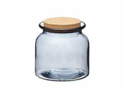 Smoked Glass Cork Lidded Storage Jar - Medium