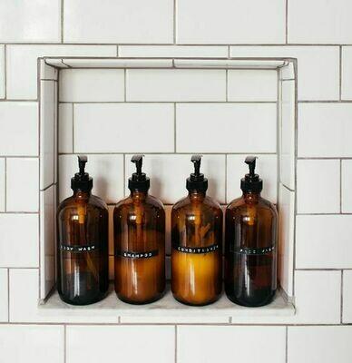Amber Glass Bottle 500ml Black Pump