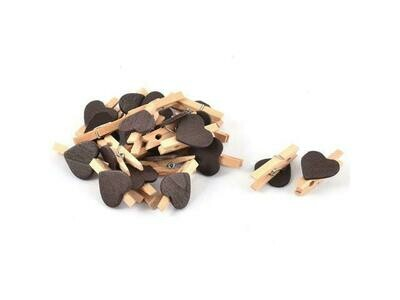 Wooden Pegs Pretty Black Heart (Qty10)