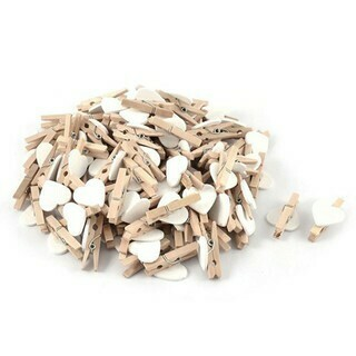 Wooden Pegs Heart Solid White (Qty12)