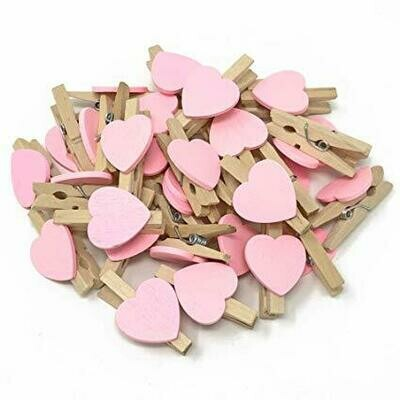 Wooden Pegs Pretty Pink Heart (Qty10)