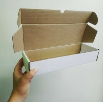 Box Corrugated Patti 300mm x 110mm x 60mm White (ea)