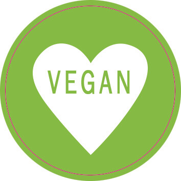 Labels Round Green Heart - Vegan (Qty 100)