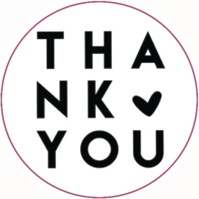 Round Stickers 45mm 'Thank You' Black on White (Qty 100)