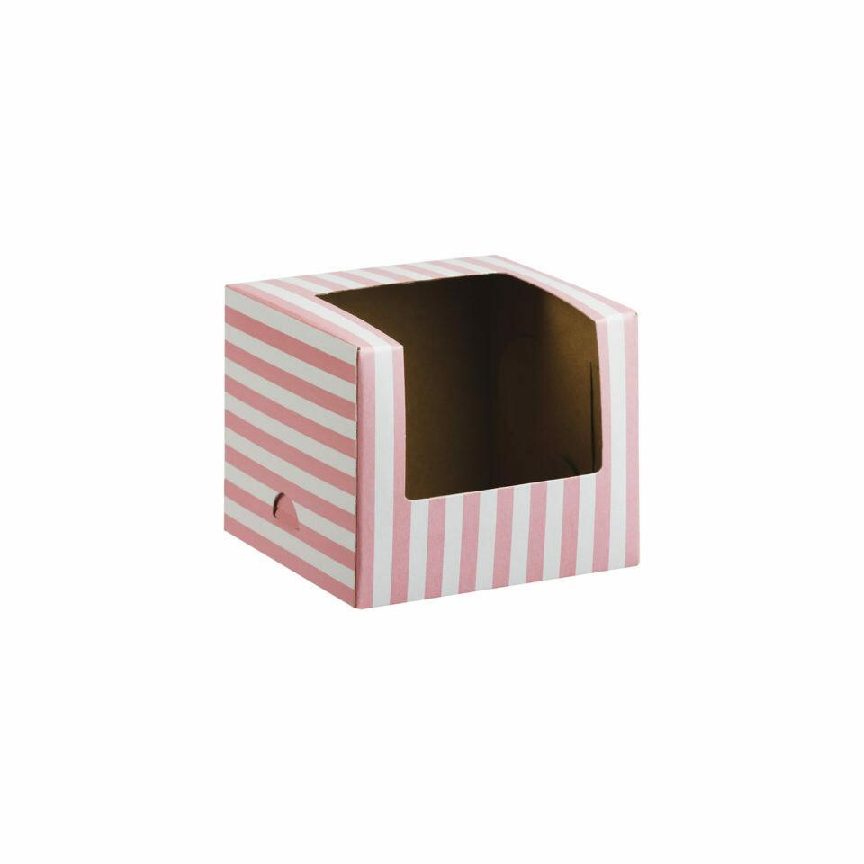 CupCake Single Box Window White - Stripe Baby Pink  (ea)