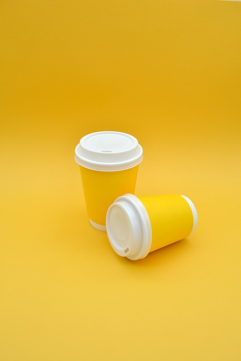 Coffee Cups Double Wall 350ml - Yellow (Qty 50)