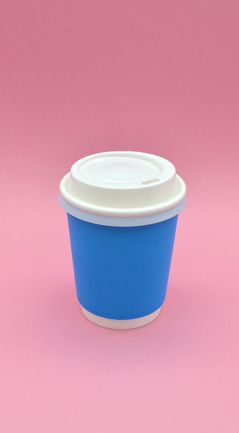 Coffee Cups Double Wall 250ml - Blue (Qty 50)