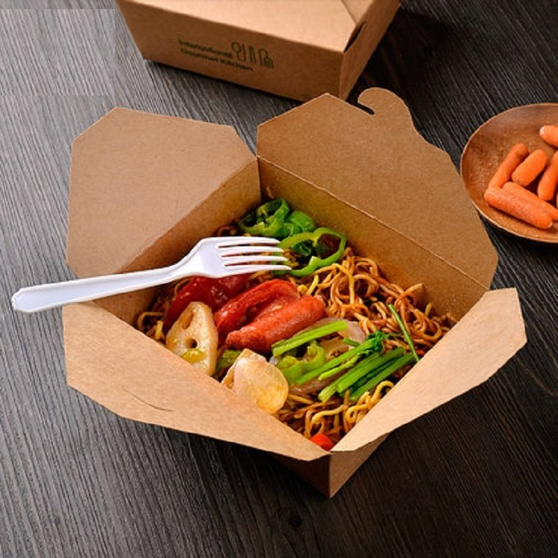 Eco Kraft biodegradable Lunch Box no 8 Medium (Qty 50)