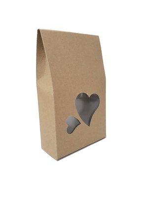 Box Treat Window Heart Kraft (Qty 10)