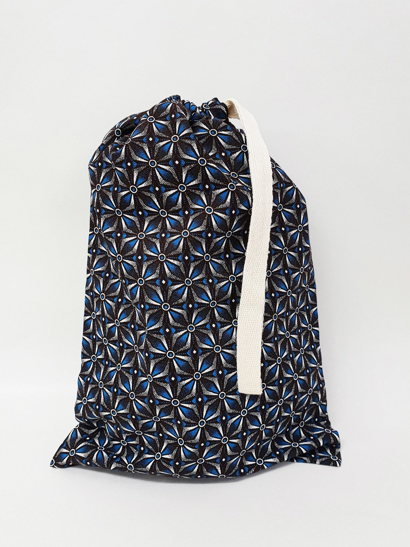 Shweshwe Bag Blue+Brown+White - Medium