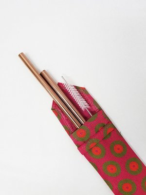 Shweshwe Straw Pouch Pink+Green+Orange