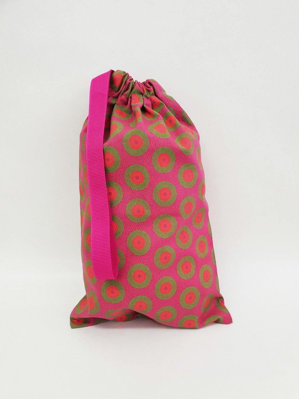Shweshwe Bag Pink+Green+Orange - Small