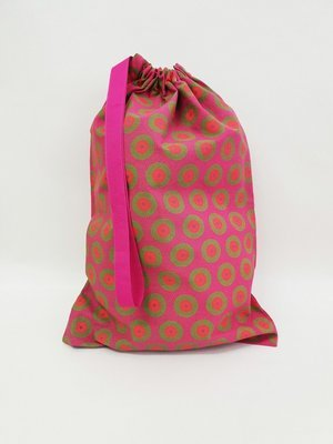 Shweshwe Bag Pink+Green+Orange - Medium