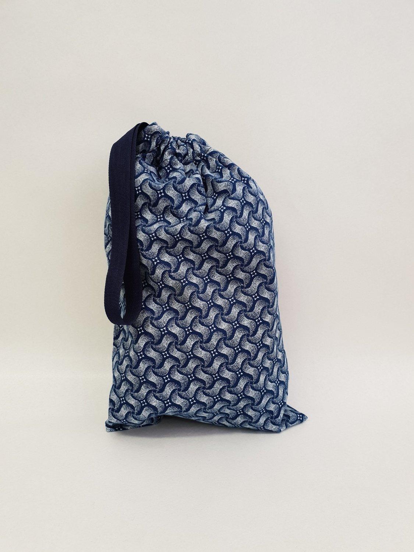 Shweshwe Bag Blue+White - Small