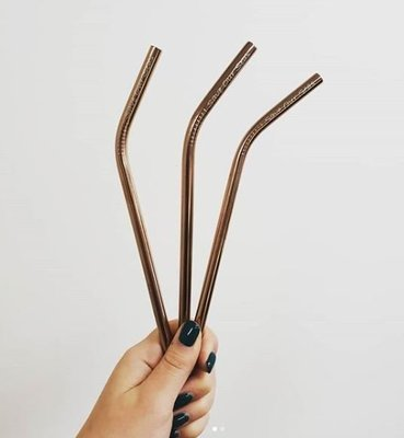 Stainless Steel Straw Bendy + Brush Rose Gold (ea)