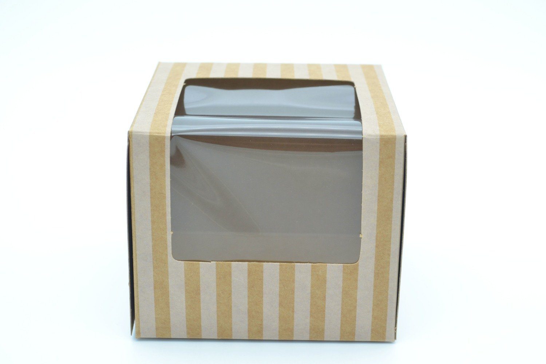 CupCake Single Box Window Kraft - Stripe White (ea)
