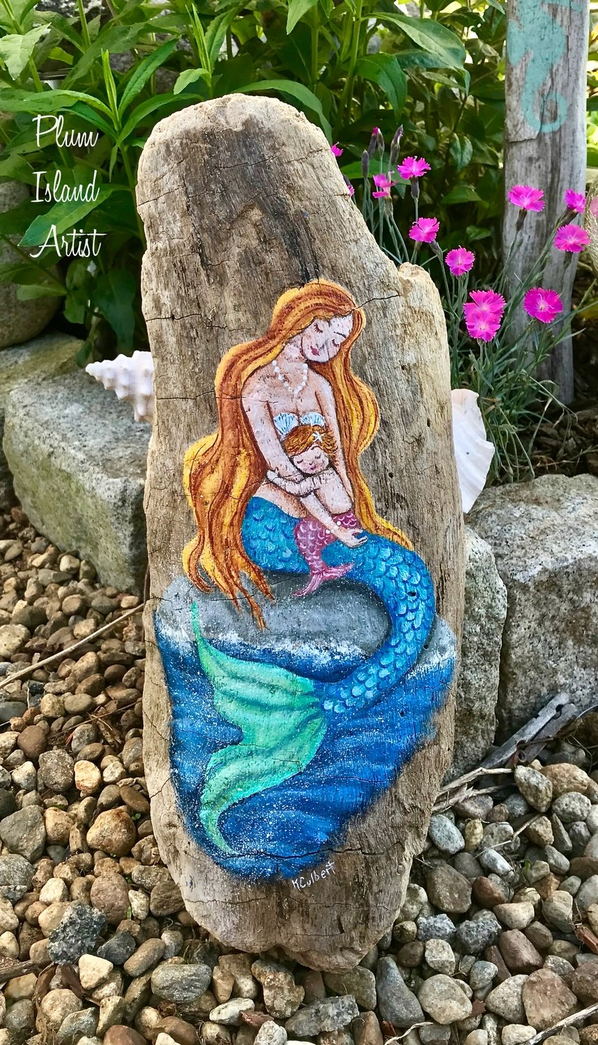 Hand-Painted MerMom & Baby on Driftwood