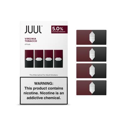 Juul Virginia Tobacco Replacement Pods - 50MG - بودات فيرجينيا توباكو لجهاز سحبة السيجارة جول