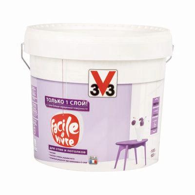 Матовая латексная краска для стен и потолков FACILE LA VIVRE V33 10 л